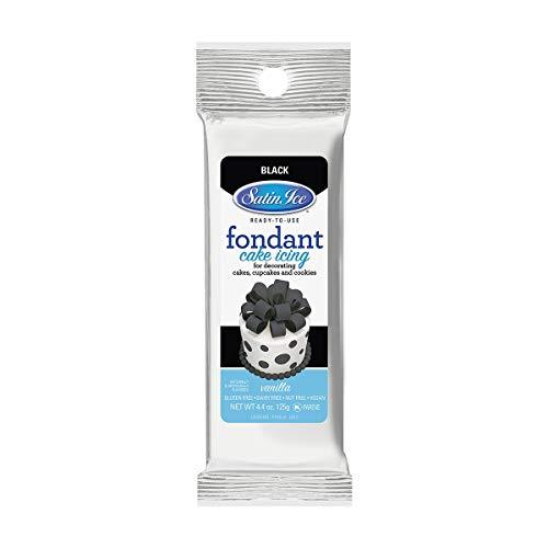 Satin Ice Black Fondant, Vanilla, 4.4 Ounces