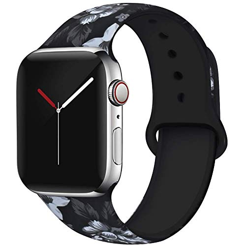 OriBear Compatible with Apple Watch Band 40mm 38mm Elegant Floral Bands for Women Soft Silicone Solid Pattern Printed Replacement Strap Band for IwatchSeries 4/3/2/1 S/M Black Temptation