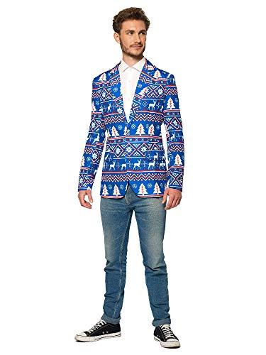 Suitmeister Weihnachtsjacke Für Herren im Verschiedene Drucke - Der Perfekte Xmas Kostüm Blazer - Christmas Blue Nordic - S