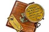 THE QUEEN'S ART Pocket Compass, Camping Travelling Equipment, Boat Compass, Engraved Brass Compass,Gift for Father with Wooden Box, Personalized Gift