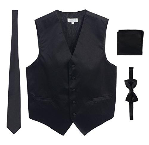 Men's Formal 4pc Satin Vest Necktie Bowtie and Pocket Square, Black, Medium