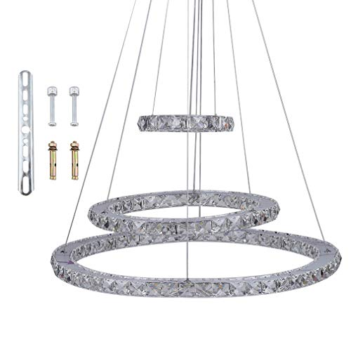 LED Kristall Design Hängelampe Deckenlampe Deckenleuchte Pendelleuchte Kreative Kronleuchter, Moderne Kristall Kronleuchter,Kaltes Lüster 6000-6500 K (72W-Drei Ringe(Φ: 20cm+40cm+60cm))