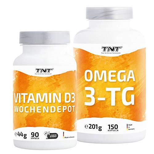 Omega 3 Kapseln Hochdosiert – Fischöl mit EPA & DHA ohne Zusätze – Laborgeprüft (Omega 150er + Vitamin D3 Depot (90 Kapseln))