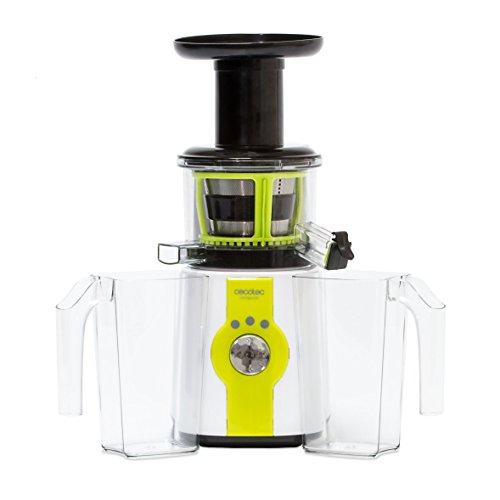 Cecotec Cecojuicer Entsafter für kaltes Pressen. Für Obst und Gemüse, 45 rpm, 3 Möglichkeiten, Trommel aus Tritan, BPA-frei, Tropf-Stopp-Verschluss, 2 Saftauslässe, Sicherheitssystem, 150 W.