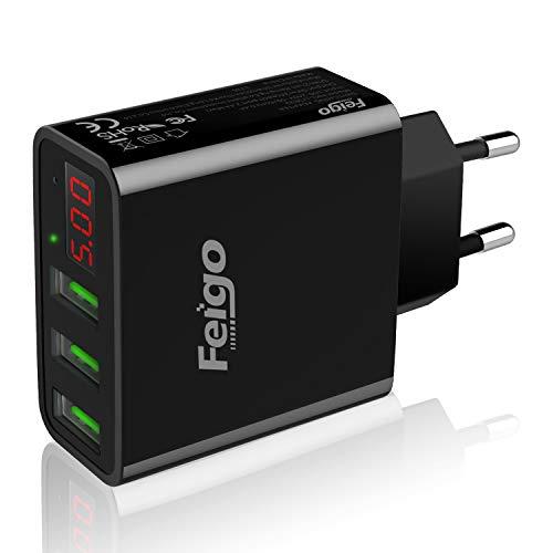 Feigo Caricabatterie USB a 3 porte caricabatterie rapido 30W con caricatore a parete con display digitale a LED per iPhone, iPad, Samsung Galaxy, Nexus, HTC, LG e altri (Nero)