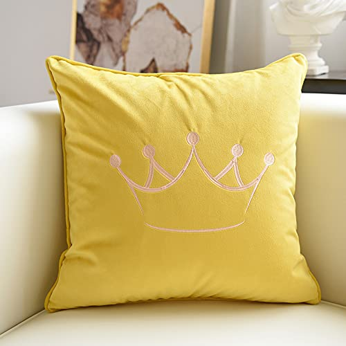MRBJC Cojín cuadrado decorativo para el hogar, 100% algodón, elegante patrón nórdico para sala de estar, dormitorio, sofá, coche, amarillo 45 x 45 cm