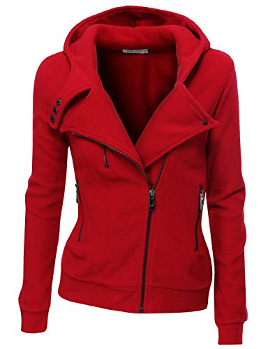 Doublju Fleece Zip-Up High Neck Jacket for Women with Plus Size RED 1X