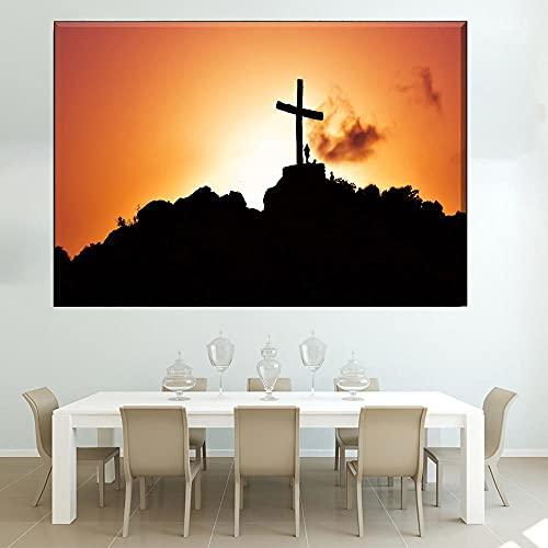 LZASMMVP Tela Pittura Moderna Stampa HD Modulare 1 Pezzo Sunset Hill Cristianesimo Gesù Croce Immagine Home Decor | 60x80 cm Senza Cornice