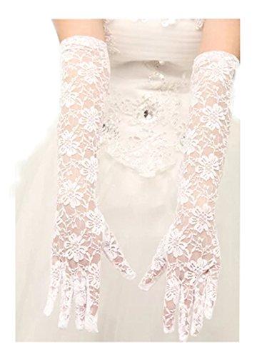 Gants de banquet long dentelle blanche fleur gant de mariage