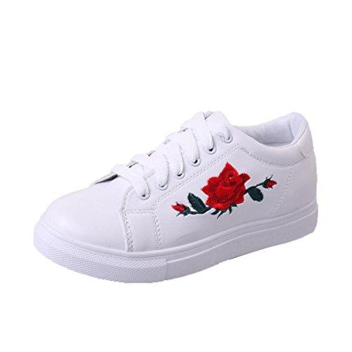 Btruely Sneakers Damen Winter Herbst Schuhe Mode Mädchen Riemen Sportschuhe Stickerei Blumen Schuhe (38, Weiß)