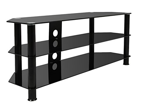 Mountright Black Glass TV Stand Unit 120 CM Wide For Most LCD LED OLED Plasma Televisions 32 Up To 60 Inch