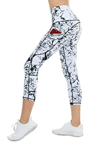 THE GYM PEOPLE Thick High Waist Yoga Pants with Pockets, Tummy Control Workout Running Yoga Leggings for Women (Small, Z- Capris Marble)