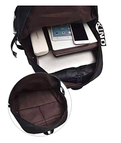 WANHONGYUE Darling in The FRANXX Anime Cosplay Rucksack Schultasche Laptop Backpack mit USB-Ladeanschluss Schwarz / 3