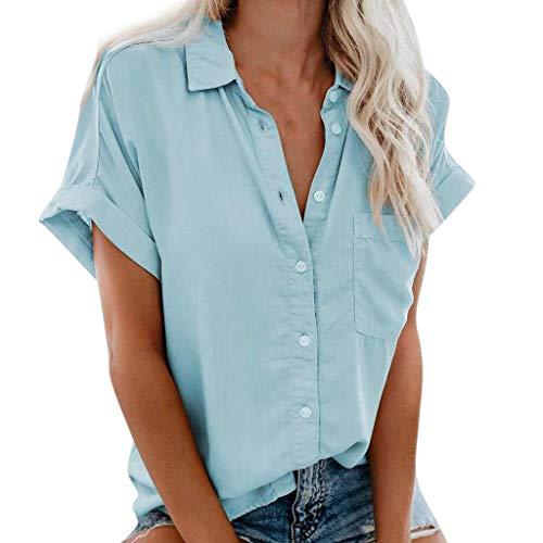QingJiu Damenmode Stehkragen Hemd Sommer Einfarbig Kurzarm Bluse Knopf Tasche T-Shirt Casual Tops