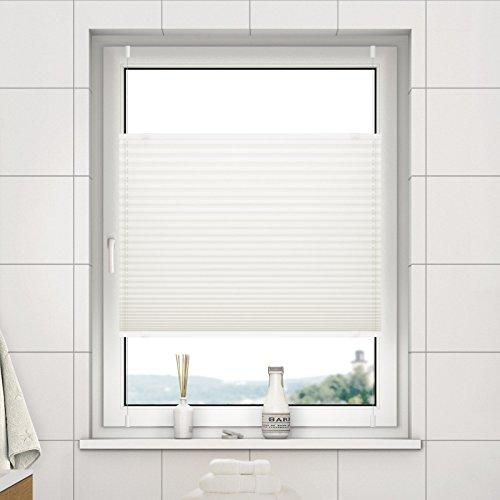 DESWIN Plissee Rollo KlemmFix ohne Bohren - 80 x 110 cm Altweiss - Blickdicht Sonnenschutz und SichtschutzEasyFix Jalousie für Fenster & Tür- verspannt (inkl. 4X Klemmträger/Klemmhalter)