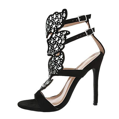 Ital Design Damenschuhe Sandalen & Sandaletten High Heel Sandaletten Synthetik Schwarz Gr. 40