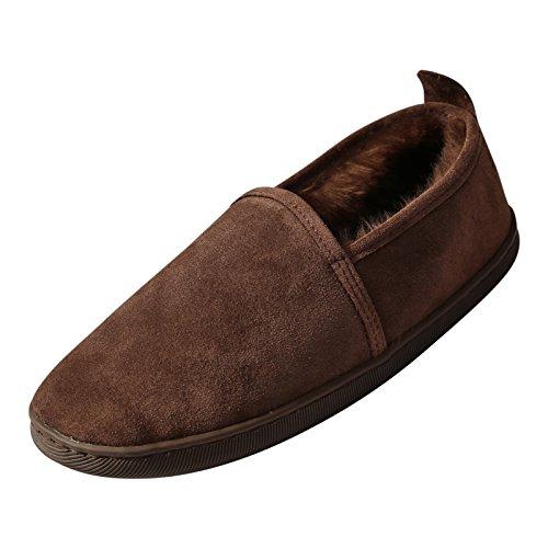 Hollert Lammfell Hausschuhe - Hubert Fellschuhe Lederschuhe Damen Herren Schuhe Größe EUR 45, Farbe Braun