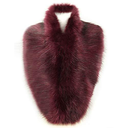 Dikoaina Extra Large Women's Faux Fur Collar for Winter Coat (100cm, Deep purple)