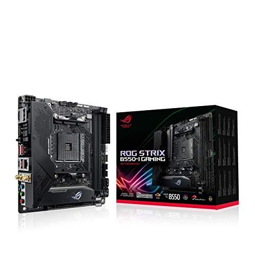 ASUS ROG Strix B550-I Gaming Mainboard Sockel AM4 (Mini-ITX, Ryzen, PCIe 4.0, Intel 2,5 Gbit/s-Ethernet, 2x M.2 mit Kühlern, SATA 6Gbit/s, USB 3.2 Gen 2)