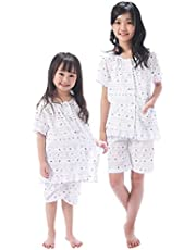 NISHIKI[ニシキ] パジャマ 子ども 女の子 半袖 夏 綿100% 涼しい クレープ生地 肌に優しい 前開き 上下セット ハーフパンツ ルームウェア 部屋着 110cm/120cm/130cm/140cm/150cm/160cm