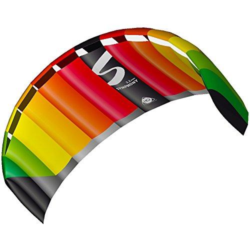 HQ 11770150 - Symphony Pro 2.2 Rainbow Zweileiner Lenkmatten, ab 14 Jahren, 73x220cm, inkl. 140 kp Dyneemaschnüre 2x25m auf Winder mit Schlaufen, 2-6 Beaufort