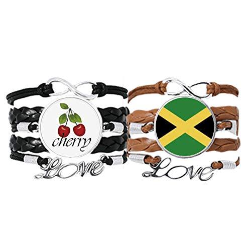 Bestchong Pulsera de cuero con la bandera nacional de Jamaica, con correa de mano y cuerda de piel de cereza, juego doble