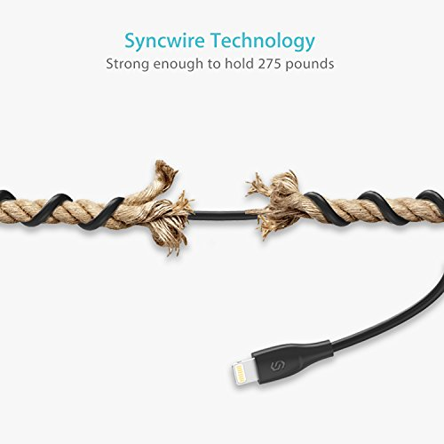 Syncwire Cable Lightning Cargador iPhone 1M - [Apple MFi Certificado] Cable iPhone Compatible with iPhone XS MAX X XR, 8, 8 Plus, 7, 7 Plus, 6s, 6s Plus, 6, 6 Plus, SE, 5s, 5c, 5, iPad, iPod Negro
