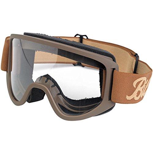 Goggle Biltwell Motorrad 2.0 Script Chocolate/Sand Braun Sand Transparente Gläser Gummiband Stil Café Racer Biker