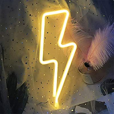 OHLGT LED Neon Light, Warm White Lightning Bolt Neon Sign Wall Light Battery and USB Operated Decorative Lights Lightning Neon Signs Light up for The Home, Kids Room, Bar,Party, Christmas, Wedding