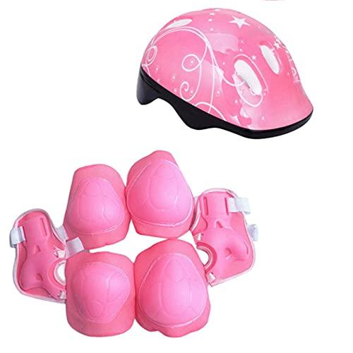 JKKJ Casco de bicicleta para niños con patrón de estrellas blancas para niños de 3 a 8 años de edad y niñas y niños, rodilleras, coderas, muñequeras para patinar, ciclismo, scooter (rosa)