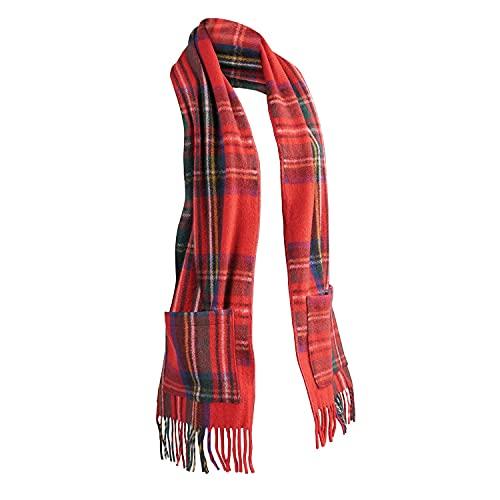 Patrick King Woollen Company Women's Merino Wool Scottish Tartan Pocket Scarf - Royal Stewart