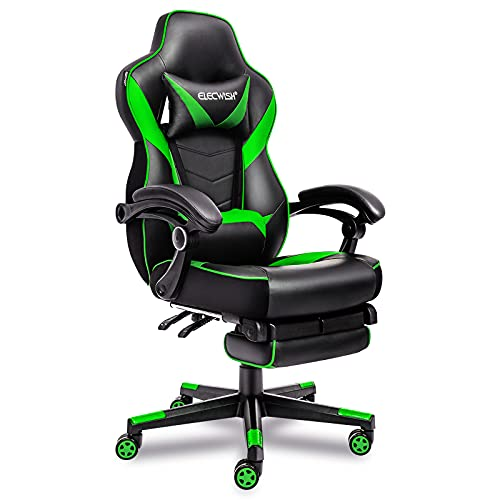 Ergonomic Computer Chair with Footrest, Large Size PU Leather High Back Office Racing Chairs, Widen Thicken Seat and Retractable Footrest and Lumbar Support Video Game Chair 170 Reclining (Green2)