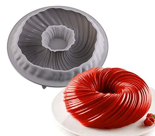 EPODA Gugelhupfform Silikon,Gugelhupf Backform Silikon Backform Kuchenform Wiederverwendbare Muffinförmchen Cupcake Ø 22 cm für Donut,Kuchen, Bagels, Dessert , Muffins