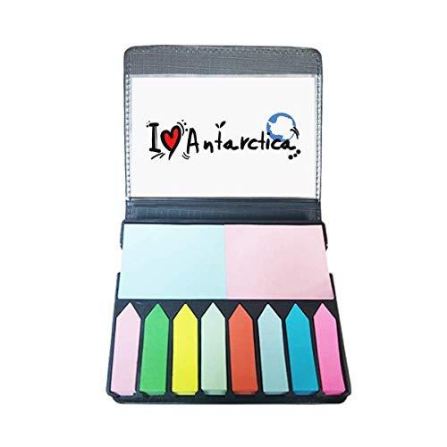 Ik hou van Antarctica Woord Vlag Liefde Hart Illustratie Zelf Stick Note Kleur Pagina Marker Box