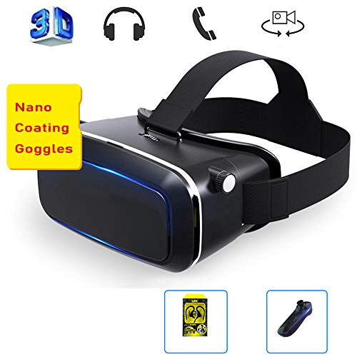 WJH9 Mobile VR, Virtual Reality Immersive Experience Protected HD Virtual Reality Headset Touch Button for iPhone 11 / Pro/X/Xs/Max/XR / 8P / 7P / 6P, for Phones Etc,Carry2