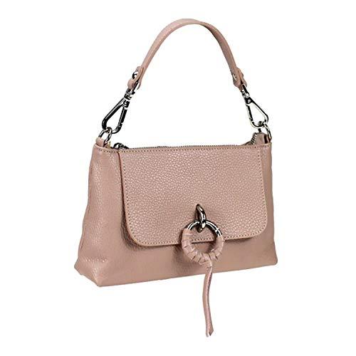Tasche Damen Leder Tasche Echtleder Tasche Italienisches Leder Tasche Italien Damen Leder Tasche Italy Style Schultertasche Umhängetasche Handtasche Leder (Puderrosa)