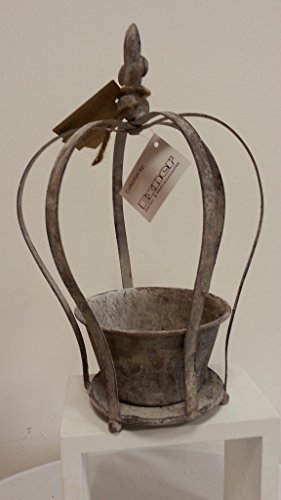 Metalldeko Krone mit Lilie Gartendeko Rost Antik- Look Landhaus Windlicht Garten