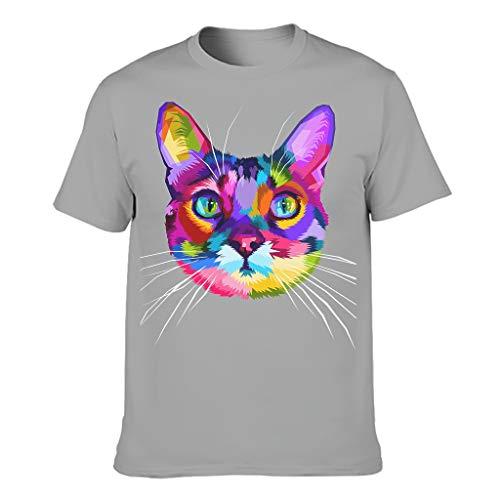 Camiseta para hombre de algodón con corte en O de manga corta, varias opciones de color, diseño de cabeza de gato gris M