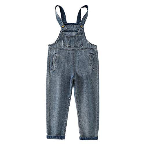 FAIRYRAIN Mädchen Kinder Denim Overall Jeanshose Mit Latz Denim Latzhosee Jeans Hosen Overall Lange Overall Jumpsuit 9-10 Jahre