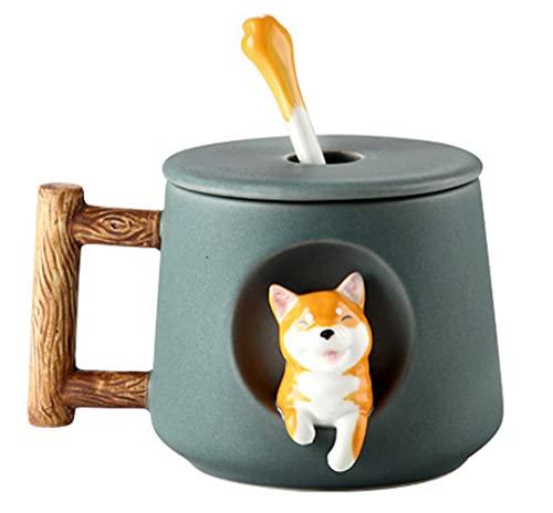 Süße Shiba Inu Kaffeetasse Teetasse Becher Geschirr 420ml Keramik Tasse mit Deckel und Löffel, Keramikbecher Kaffeebecher Porzellan Cappuccino Tasse Coffee Milk Tea Mug
