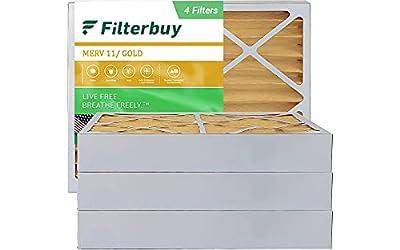 FilterBuy 20x25x4 Air Filter MERV 11, Pleated HVAC AC Furnace Filters (4-Pack, Gold)