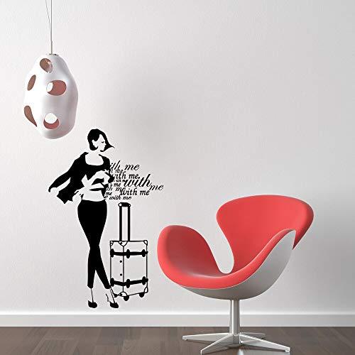 JXND Tienda de Ropa calcomanía de Vinilo para Pared Chica Caliente Bolsa Letras Palabra Mural Arte Etiqueta de la Pared Ropa Cartel decoración 60X98CM