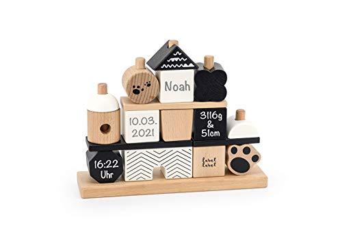 Babygeschenk zum 1. Geburtstag & Geburt Mädchen & Junge - Personalisiertes Stapel- und Steckspiel Haus mit Steckformen Panda schwarz/weiß | Label-Label | Personalisiert mit Geburtsdaten und Namen