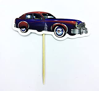 Luxury Cars Cupcake Toppers Birthday Party Vintage Cadillac Cake Toppers Pack of 12