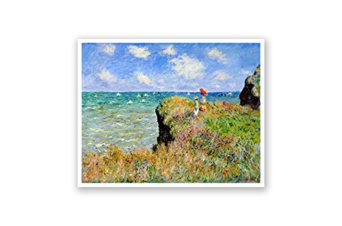 Clifftop Walk at Pourville - Claude Monet - Fine Art Collections - 24x19 Matte Poster Print Wall Art