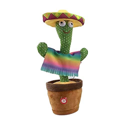 Cactus Peluche Juguete Electrónico Dancing Singing Peluche Cactus Con Función De Grabación De Luz 120 Canciones De Inglés Educación De La Primera Infancia Toy Regalo De Cumpleaños Para Niños Funciona
