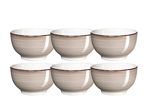 Mäser, Serie Bel Tempo, handbemalte Keramik Müslischale 14 cm, im 6er-Set, in der Farbe Grau