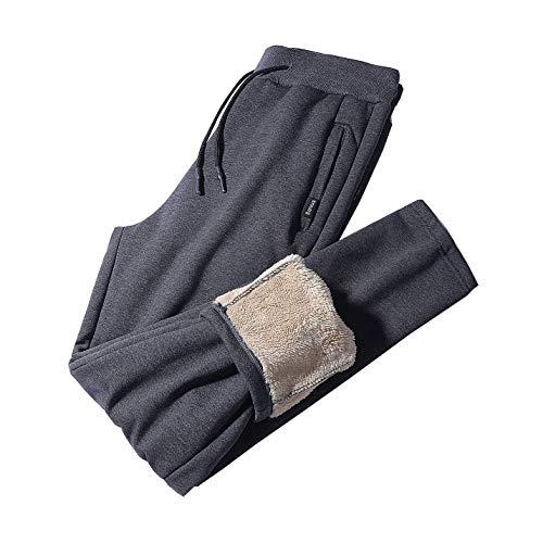 PEHMEA Mens Thick Warm Sherpa Fleece Lined Sweatpants Casual Straight Leg Joggers Running Active Track Pants (02 Grey, Medium)