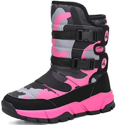 SAGUARO Kinder Schneestiefel Warm gefütterte Winterstiefel Winter Winterschuhe Snowboots für Jungen Mädchen, Pink 34EU/Label 35