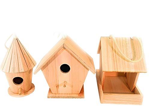 Oojami - Juego de 3 Casas para pájaros (Incluye comedero para pájaros y 2 Casas para pájaros)